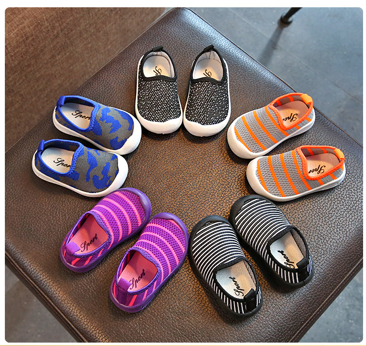 2018 New Breathable Striped Stretch Fabirc Sports Shoes 5 Color Spring children Casual Fashion Shoes Rubber Bottom Girl Shoes