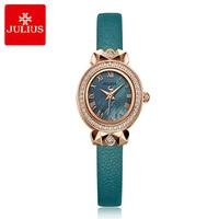 New Retro Lady Women's Watch Japan Quartz Hours Elegant Leather Bracelet Rhinestone Clock Girl's Birthday Gift Julius