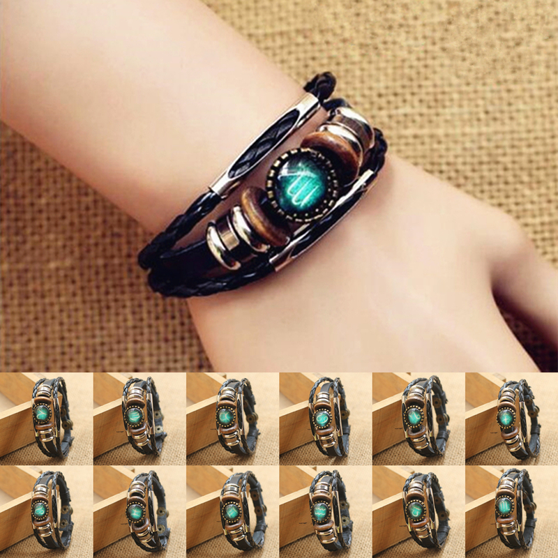 Fashion Punk Men Jewelry 12 Horoscope Leather Bracelet Retro Wooden Bead Charm Bracelet Female Male Jewelry Gifts Wholesale 1