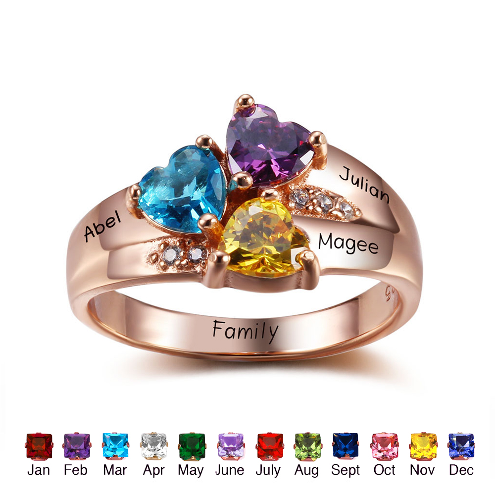 Best Mom Jewelry Gift Personalized Birthstone Family Rings 925 Sterling Silver Cubic Zirconia Ring Rose Gold DIY Names Ring