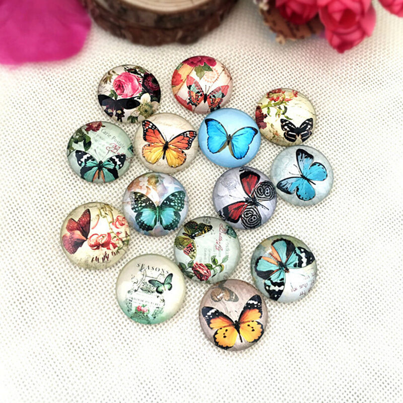 20PCS Mixed Photo Handmade Butterfly Glass Dome Cabochon Cameo Cabs 10-25mm