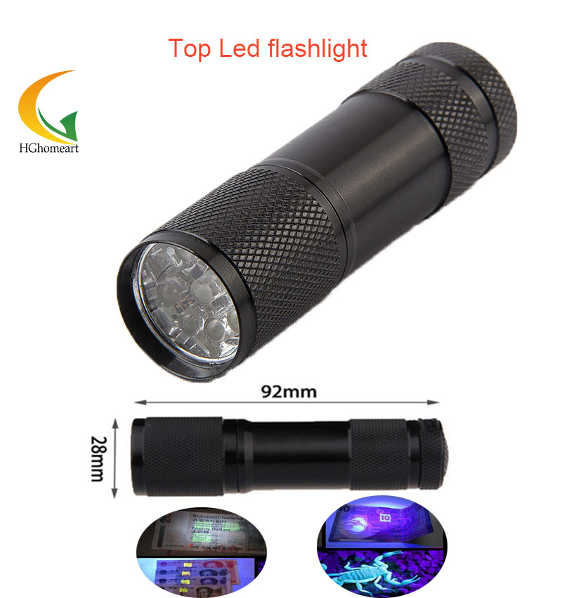 Portable LED Flash font b Flashlight b font Penlight 9 LEDs UV Purple Lights Lamp 450lm