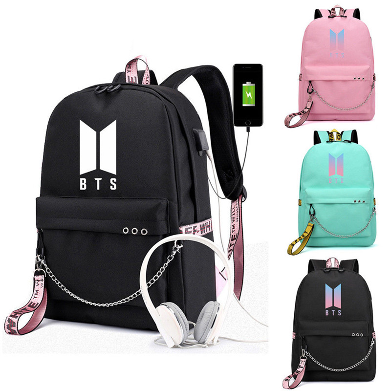 Kpop Bts Bangtan Usb Backpack Bag Boys With External Usb Backpack Shoulder School Bag For Gifts
