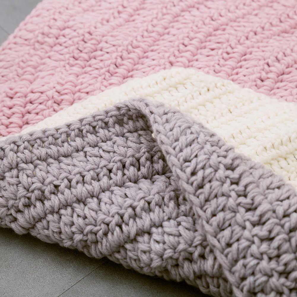 Handmade Crochet Cartoon Fox Bear Blanket Carpet Mat 80cm Diameter Kids Baby Game Decoration T251