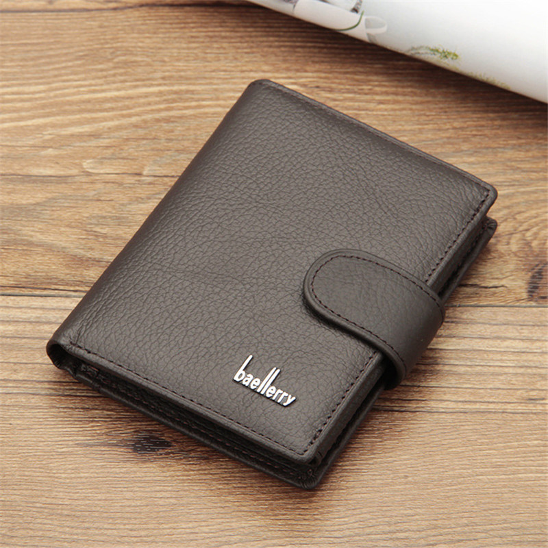 Baellerry Top Quality Genuine Leather Men Short Wallet Vintage Big Capacity Money Purse Coin Pocket Card Holder 100% Cow Leather