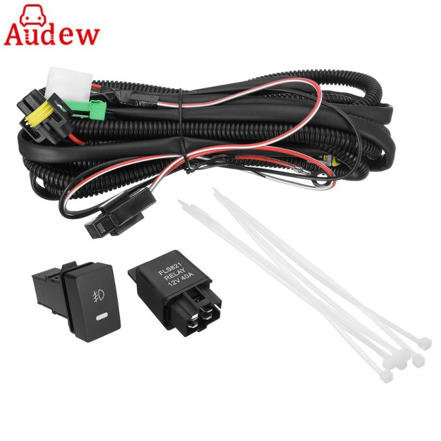 H11 Fog Light Wiring Harness Sockets Wire + LED Indicators Switch +