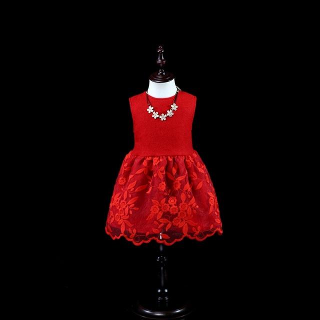 Mirada de la familia de Invierno bebé niños sundress chica 1Y-16Y niñas de lana roja del cordón vestidos de la madre madre e hija ropa a juego