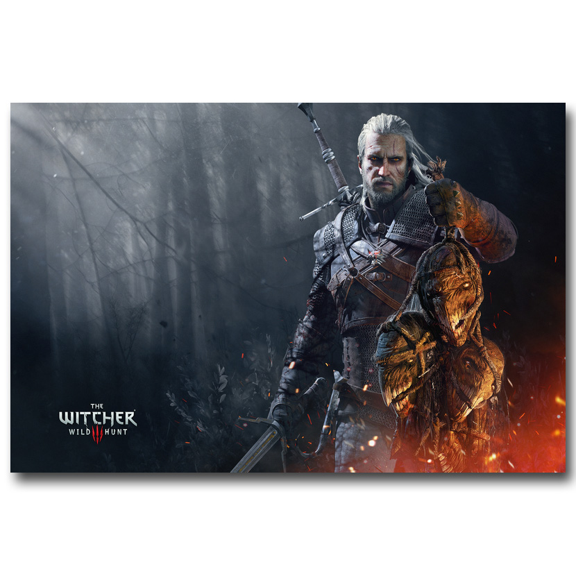 Witcher 3 Wild Hunt Art Silk Fabric Poster Prints 13×20 24x36inch Game  Geralt Rivia Wall Pictures Living Room