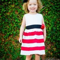 1-6Y Kids Baby Girl Dress Wide Stripe Print Sleeveless Casual Summer Sundress