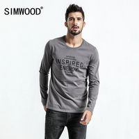 SIMWOOD 2018 Spring New Long Sleeve T Shirts Men Slim Fit Letter Fashion 100 Pure Cotton