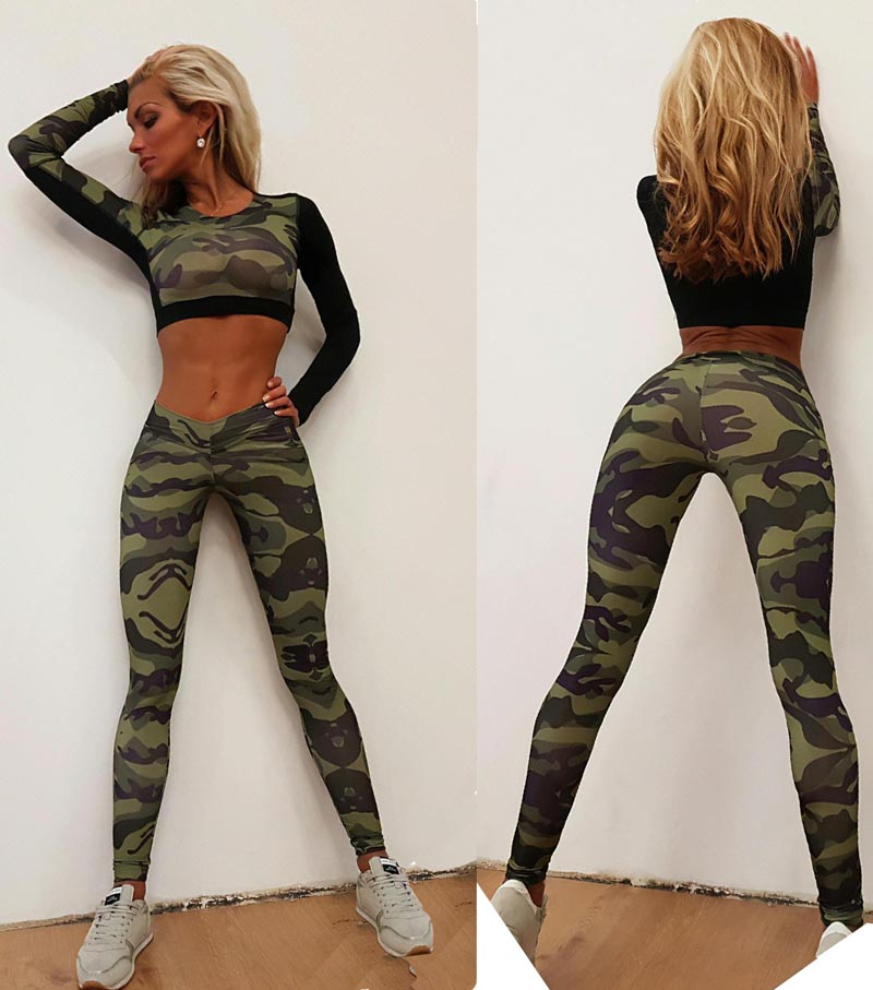 Camouflage Printed Green Crop Top and Pants 2017 Fashion Long Sleeve 2 Piece Set Women Suits Workout Joggers Tracksuits Trousers