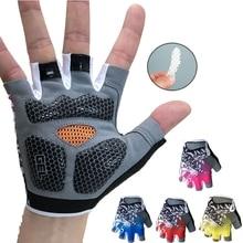 Hot Blue Shockproof Gel padded Bike Gloves Pink Bicycle Cycling Half Finger Gloves MTB Team Racing