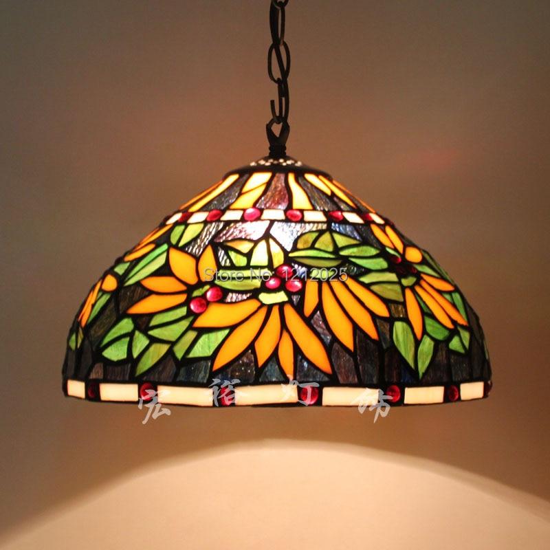 Retro Tiffany Pendant Lamp Flower Design Dinning Room Home