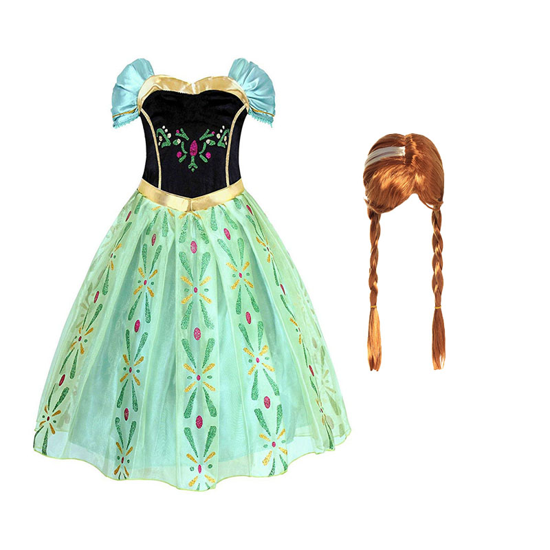 Girls Anna Elsa Elza Princess Dress Kids Costume with Wig Crown Children Snow Queen Halloween Birthday Party Cosplay Fancy Dress