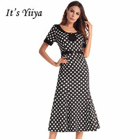 It's YiiYa Luxury O neck Short Sleeve Wave Point Pattern Cocktail Gowns Tea Length Trumpet Party Fromal Dress LX525