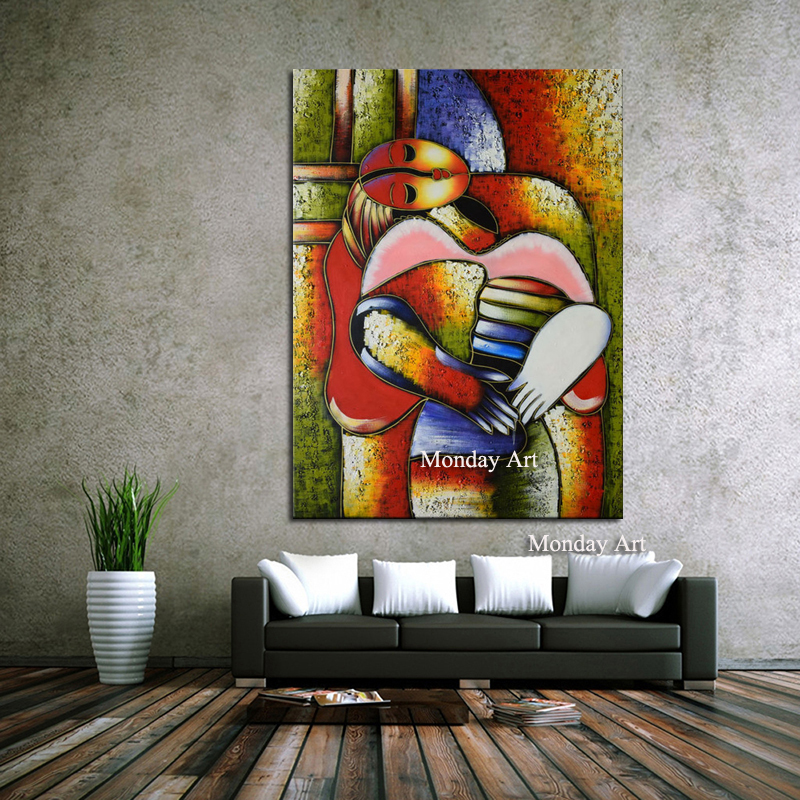 100% Hand Painted n Picasso Style Art Figure Canvas Painting Elegant Lady Saxophone Gentlem Nordic Decor for Living Room