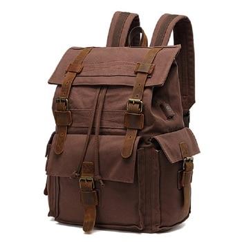 M291 New Men Canvas Leather Backpacks Vintage 14 Inch Laptop Backpack Male Travel Bag Large External USB Charging School Bag