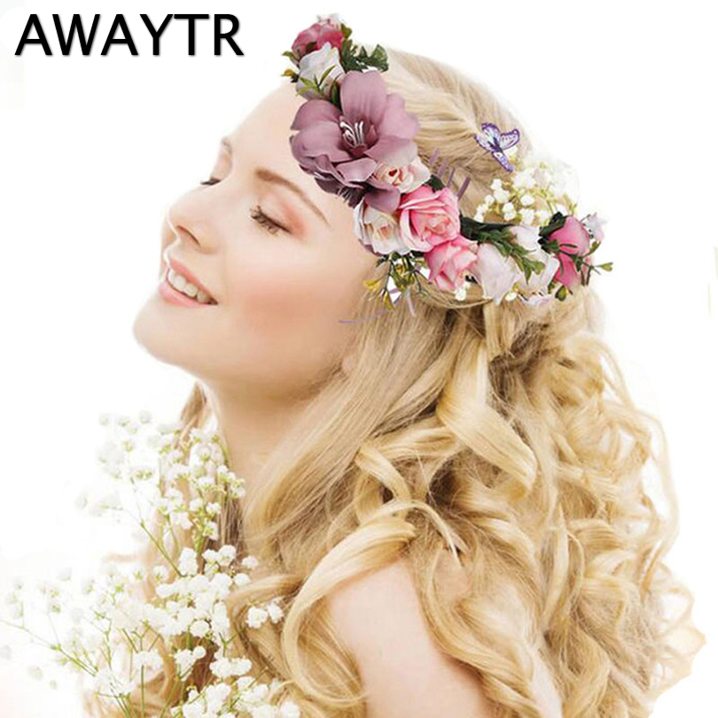 Diadem AWAYTR Flower Crown Bröllop Bride Wreath of Flowers Head Band Böhmen Kvinnor Hår Tillbehör Flower Headband Headpiece