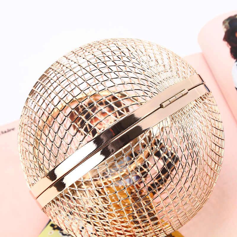Bolso de noche esférico de malla a la moda para mujer, bolso de mano de diseñador, bolso de hombro, bandolera para mujer, Cartera de muñeca de boda