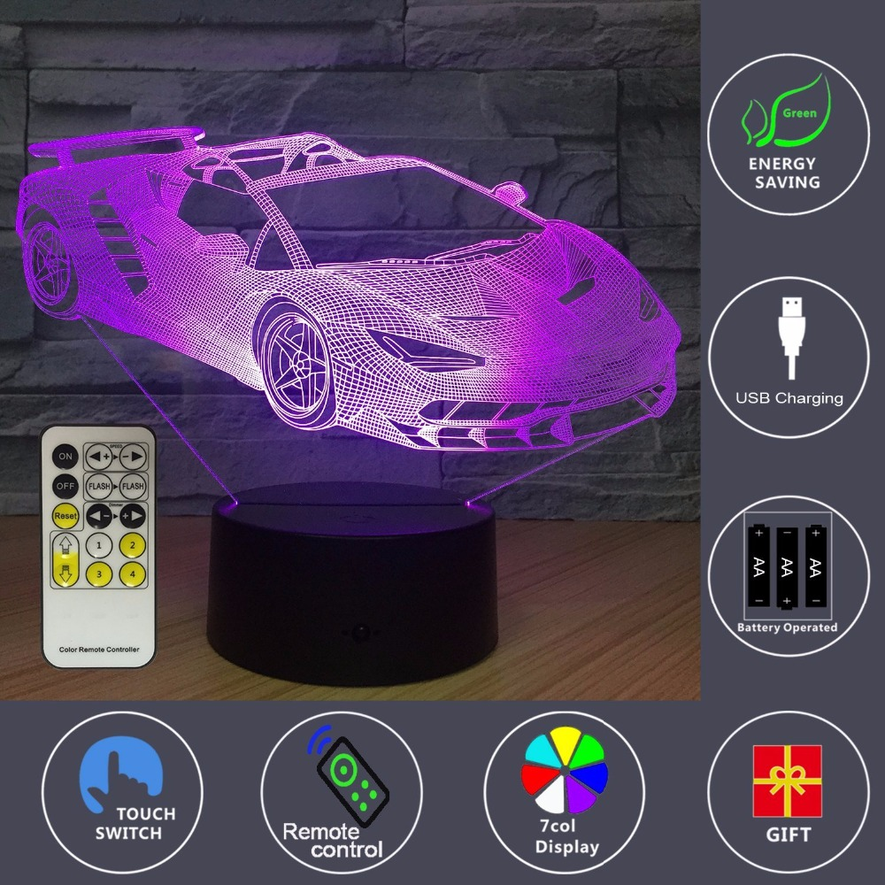 2018 Car Beside Lamp 7 Colors Change With Remote Kids Night Light Optical Illusion Lamps For Kids Lamp As A Gift Ideas For Boys