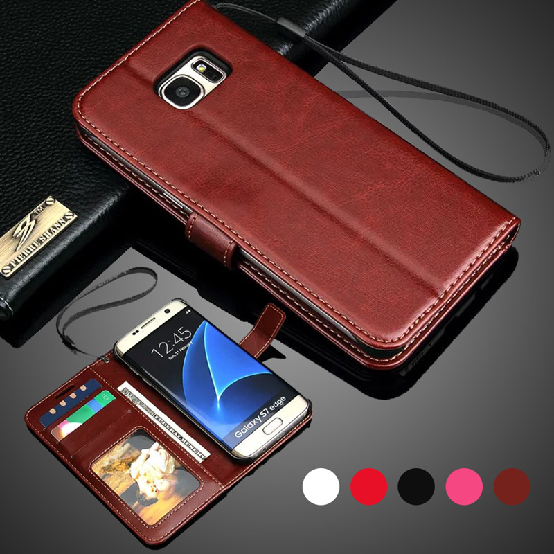 LANCASE 대한 Samsung Galaxy S7 Edge Case 서 지갑 Flip PU Leather Case