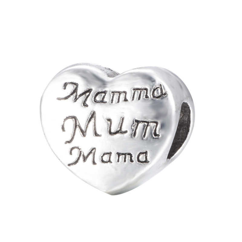 CUTEECO envío gratis plata antigua Corazón de amor de familia mamá gran agujero cuentas encanto europeo ajuste Pandora pulseras Accesorios
