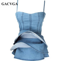 GACVGA Sexy Off Shoulder Women Denim Top Casual Ruffles Sleeveless Camis Blue Blusas Loose Beach Girl