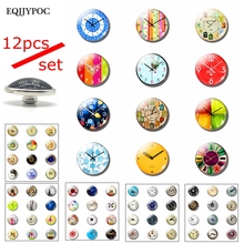Eternal Time Fashion Clock Snap Buttons 16mm Glass Cabochon Metal Buckle DIY Handmade Charm Photo Snaps Wholesale Customize