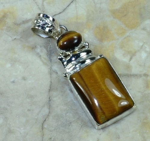 Hand make  Genuine Real Tiger EYE Pendant , 100% Solid 925 Sterling Silver,  40mm,  6.7g