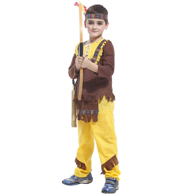 New Halloween Boy Lovely Savage Cosplay Costume Cute Indian Kids Set Uniform Birthday Childrens Day Performance Carnival Gift