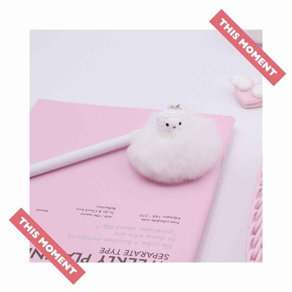 الكرتون الألبكة الشعر الكرة قلادة أفخم هلام القلم لطيف 0.5 مللي متر أسود الحبر قلم توقيع هدية ترويجية القرطاسية اللوازم المدرسية