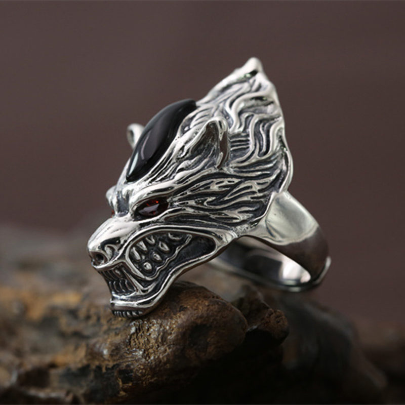 Gothic Silver 925 Wolf Wide Band Finger Rings Men Top Craft Cool 925 Sterling Silver Jewelry