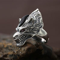Gothic Silver 925 Wolf Wide Band Finger Rings Men Top Craft Cool 925 Sterling Silver Jewelry Men Thai Silver Ring Free Box Gifts