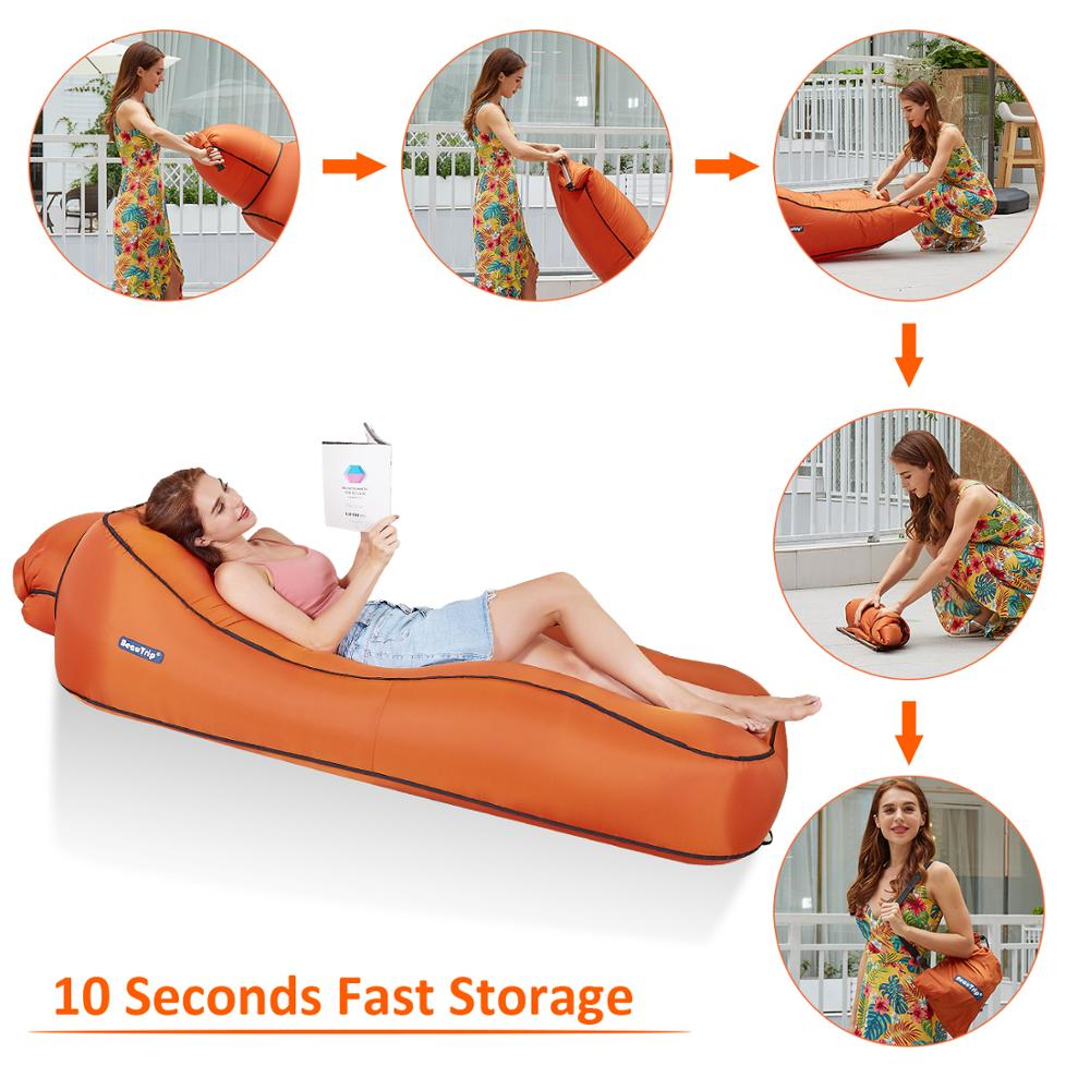 Image 5 - Inflatable Lounger Air Sofa Hammock Portable Waterproof Ideal Couch for Backyard Lakeside Beach Pool Traveling Camping Festival-in Garden Sofas from Furniture