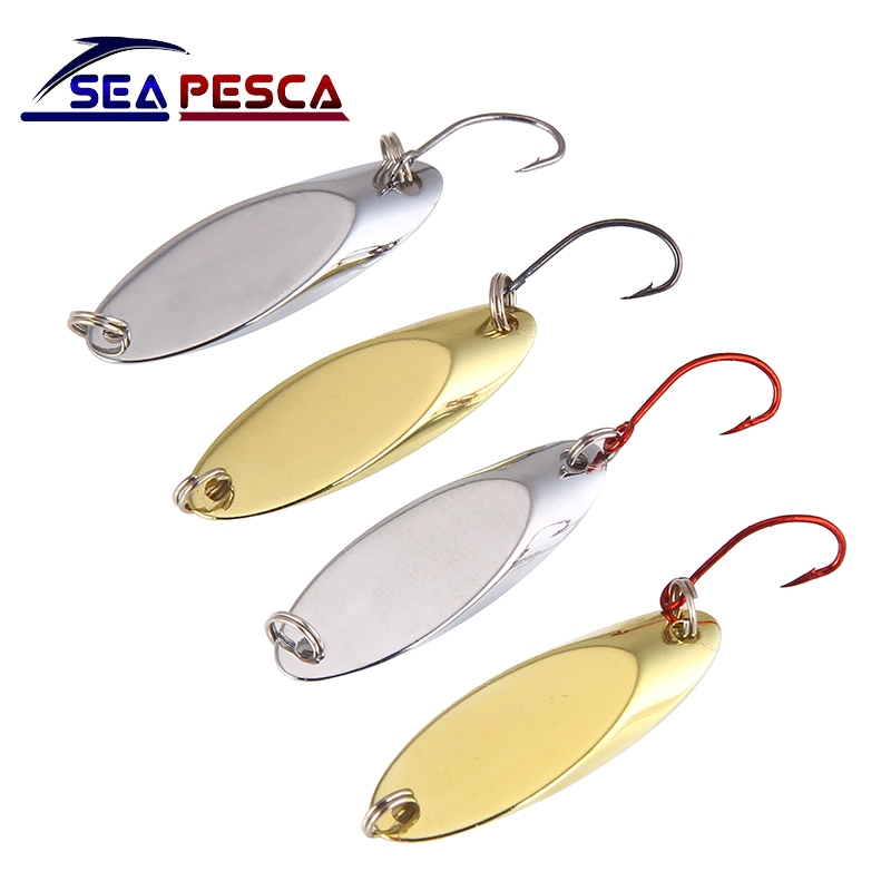 SEAPESCA Metal Spinner Spoon Fishing Lure copper Hard Bait 1.5g 2g 3.5g 5g Artificial Sequins with Single Hooks Tackle JK465 outkit 10pcs lot copper lead sinker weights 10g 7g 5g 3 5g 1 8g sharped bullet copper fishing accessories fishing tackle