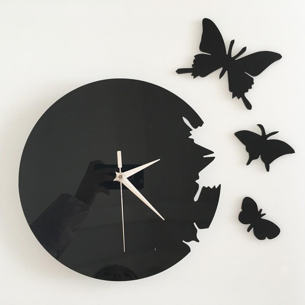 горячая продажа! бесплатная доставка! поделки моды диск бабочка настенные часы украшения часы
