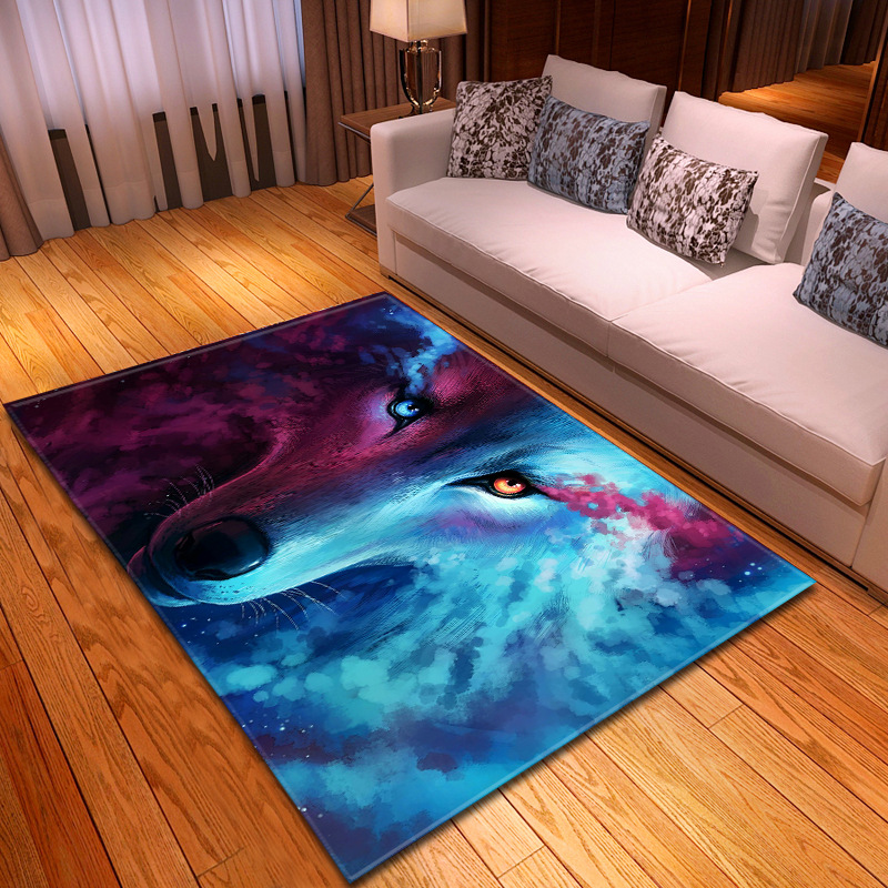 3D Wolf Print Rug for Home Livingroom Bedroom Kid Room Carpet Modern Decor Floormat Anti-slip Large Area Blanket tapete