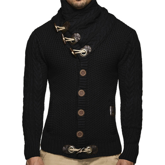 Winter Turtleneck Button Up Knitted Cardigan Sweater Men Fit Warm