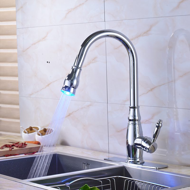 Chrome Finished Led Light Pull Out Bathroom Kitchen Sink Faucet Deck Mounted Hot and Cold Water Tap good quality chrome finished pull out
