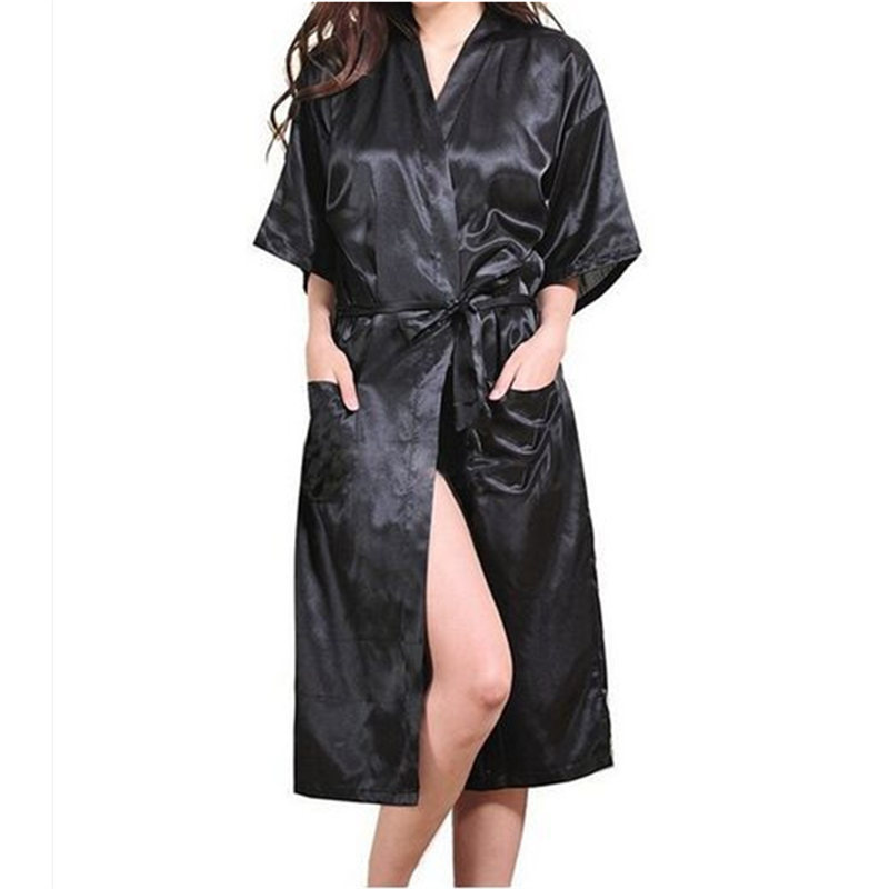 Fashion Women's Solid Silk Like Kimono Robe for Bridesmaids Wedding Party Night Gown Pajamas 5 colors available Free Shipping