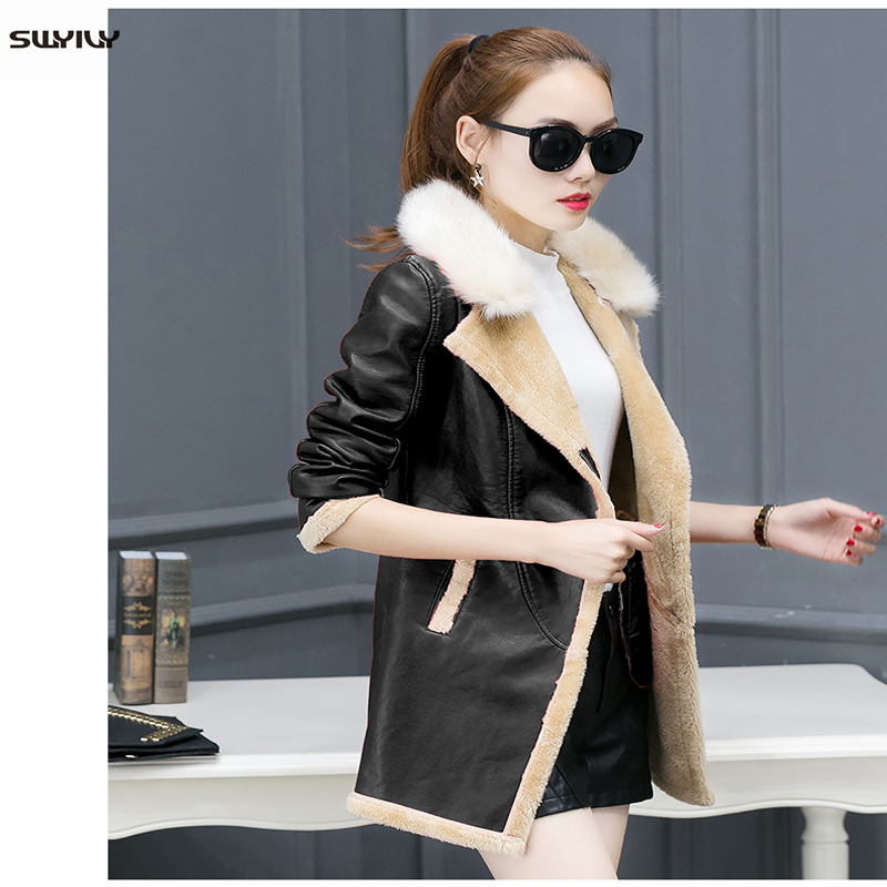 SWYIVY Women Coats Jacket PU   Leather   Fur Collar Warm 2018 Winter New Female Casual Clothing Solid Woman   Leather   Jacket Coat 3XL