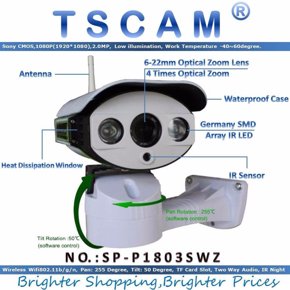 TSCAM new SP P1803SWZ 1080P PTZ IP Camera Outdoor Wireless Full HD Pan Tilt Zoom 6