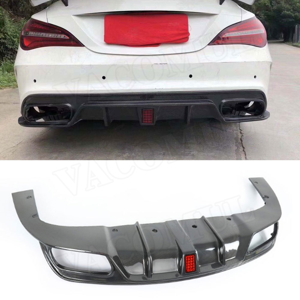 Carbon Fiber Rear Lip Spoiler Diffuser for Benz CLA Class W117 CLA200 <font><b>CLA250</b></font> CLA260 CLA45 2013-2018 With LED Light image