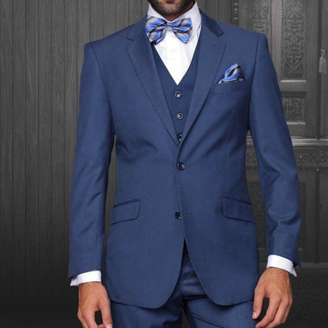 Newest Navy Blue Wedding Mens Suits Groom Tuxedos Notched Lapel ...