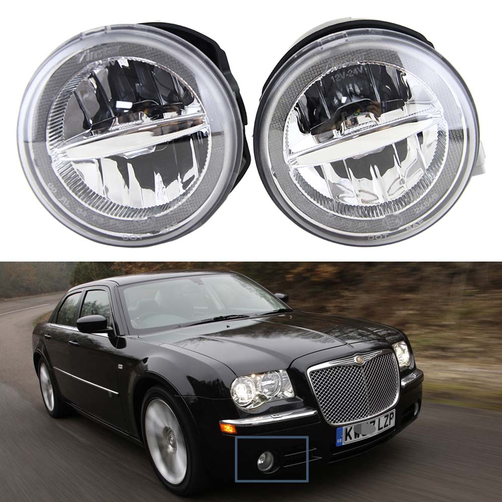 2x 10W Cree chip LED Fog drl Daytime Running Lamp For Chrysler 300 C Sedan 4-Door 2005-2010  OE Replace Led Fog driving Lamp good item 2pcs sh23w p13w cree chip led bulb 11w fog running lights drl anti brouillard sans odb abfeux de jour alfa romeo mito
