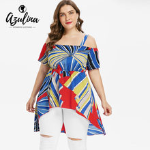 3ded9c4646302 AZULINA Plus Size High Low Color Block Blouse Summer Square Neck Short  Sleeve Women Blouses Ladies Tops Casual Blusas Clothing