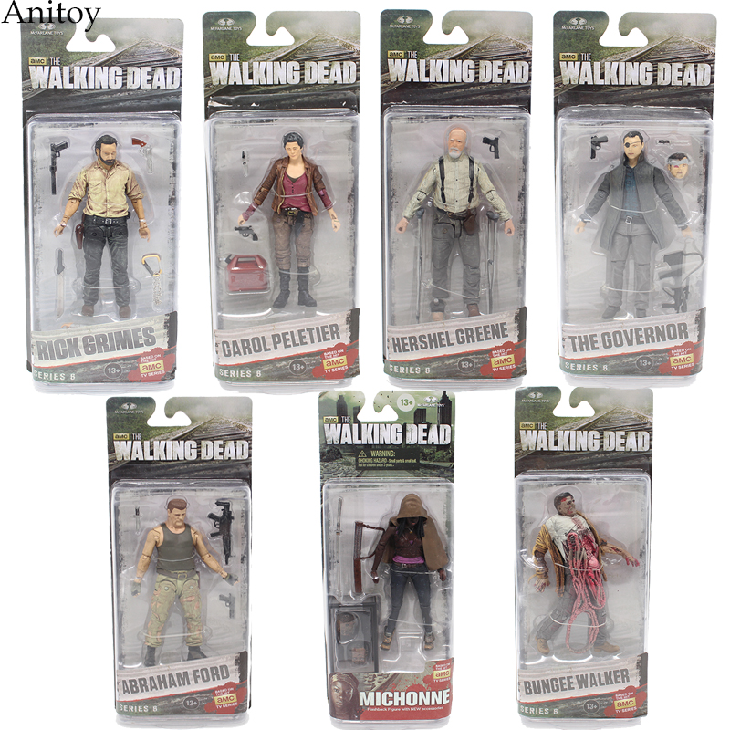AMC TV Series The Walking Dead Abraham Ford Bungee Walker Rick Grimes The Governor PVC Action Figure Collectible Toy KT1601 imperfect funko pop second hand tv series the walking dead michonne pet walker 2 zombie figure decorative model toy cheap no box