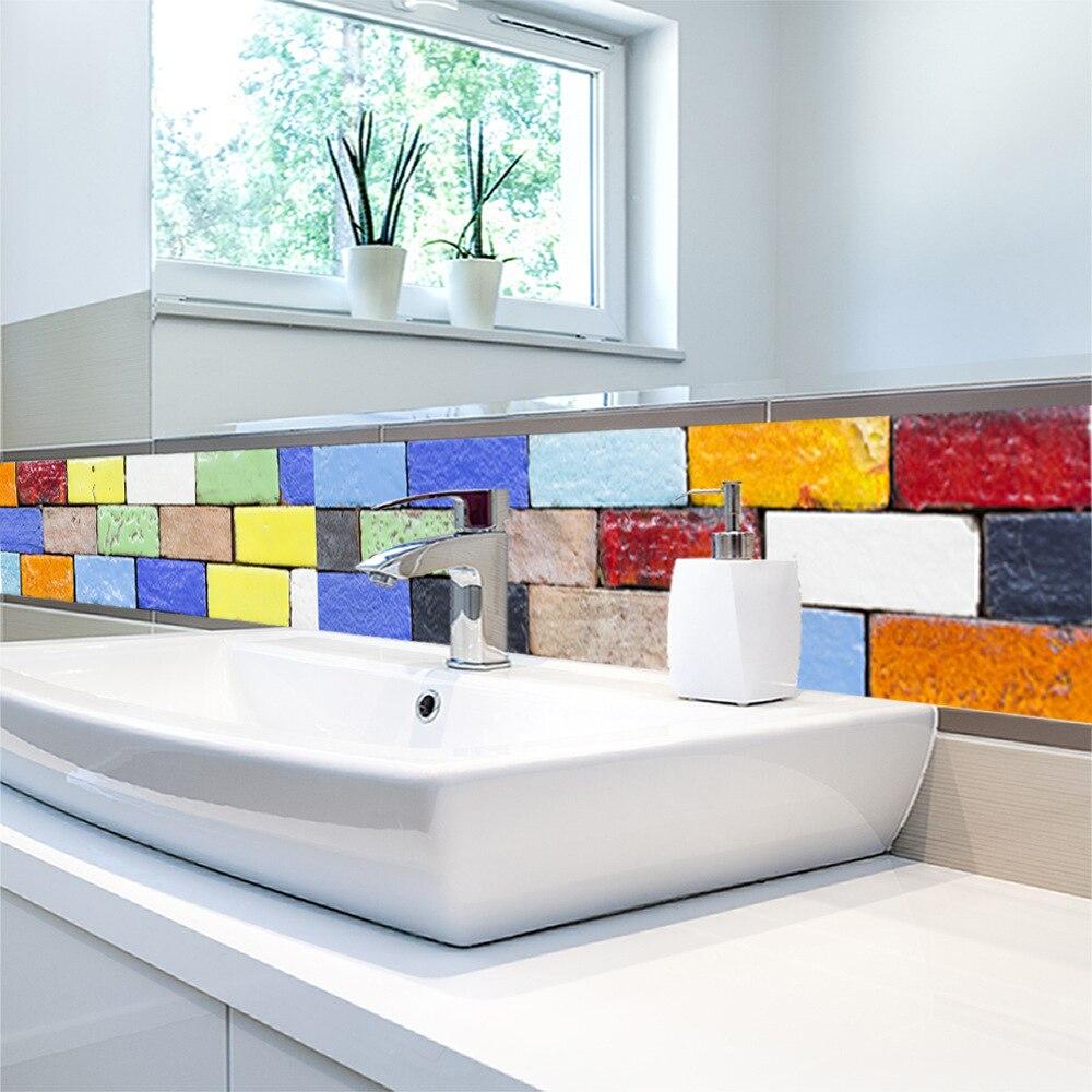 קיר מדבקות לאמבטיה מטבח אריח מדבקות דקור דבק עמיד למים 3d צבע לבנים קיר מדבקות