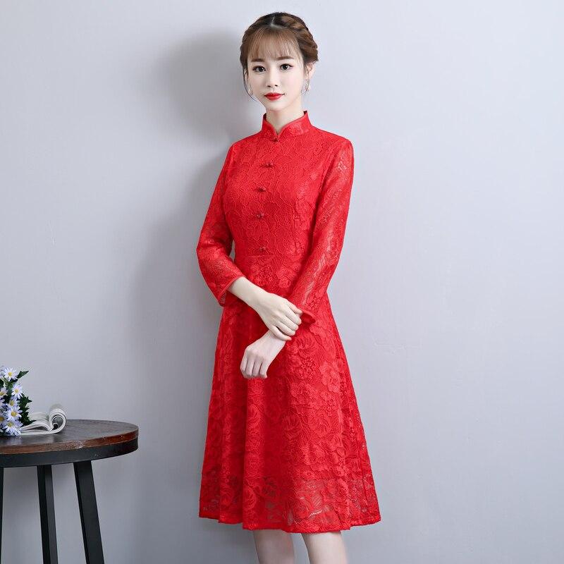 f3262589ff Sexy D'été Chinois Style Dentelle rouge Robes Mince Partie Qipao Cheongsam  À Mode rose Long Femmes 2018 Bouton Robe De ...