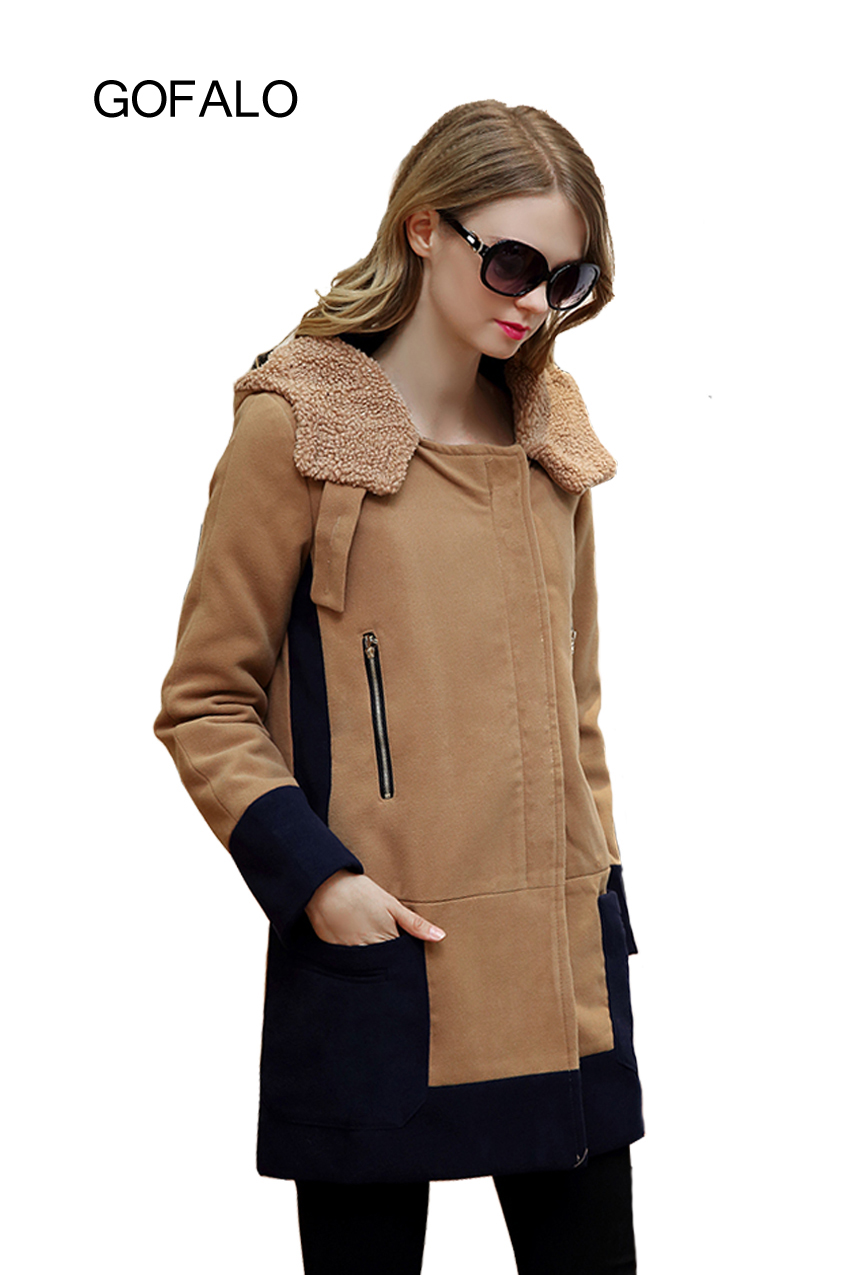 GOFALO Latest font b Women b font Winter Fashion Collar Woolen Hooded Overcoat Patchwork Design Female